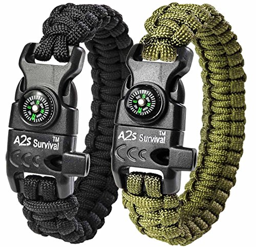 A2S Paracord Bracelet K2-Peak - Survival Gear Kit with Embedded Compass, Fire Starter, Emergency Knife & Whistle - Pack of 2 - Slim Buckle Design Hiking Gear (Black / Green 8.5